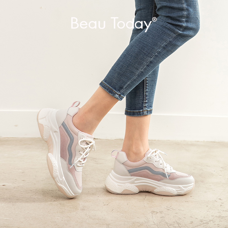 BeauToday Chunky Sneakers Women Genuine Cow Leather Mesh Mixed Colors Lace-Up Closure Spring Lady Thick Shoes Handmade 29359