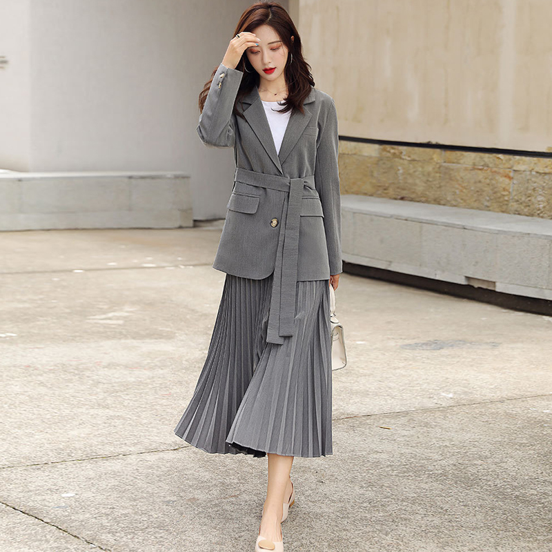 Casual Women's Suits Skirt Set 2019 Autumn New Fashion Slim Jacket Suit Female Half-length Pleated Skirt Two-piece High Quality