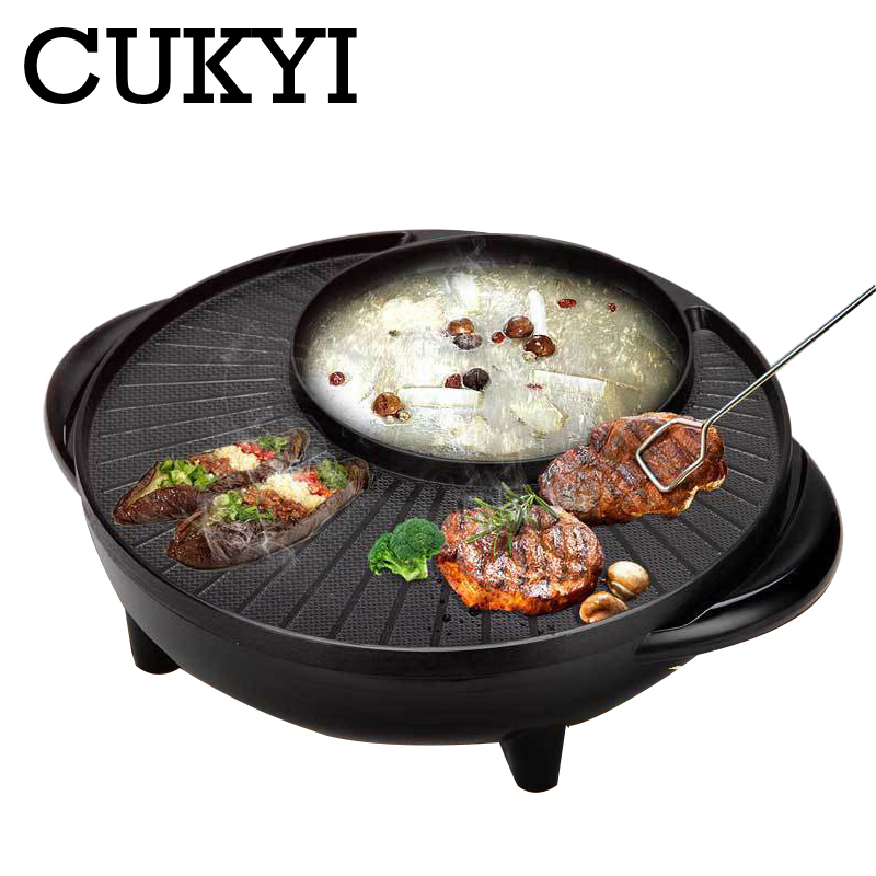 CUKYI Electric Chafing Dish Electric Baking Pan Smokeless Nonstick Pan Large Barbecue Dish 1700W Aluminum Adjustable Temperature
