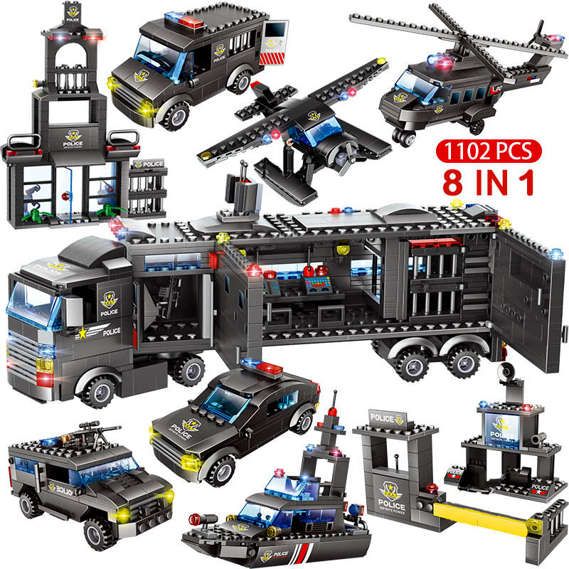 Image 2 - 1122pcs 8IN1 SWAT City Police Truck Car Building Blocks Compatible  City Police Station Bricks Toys for Boys ChildrenBlocks   -