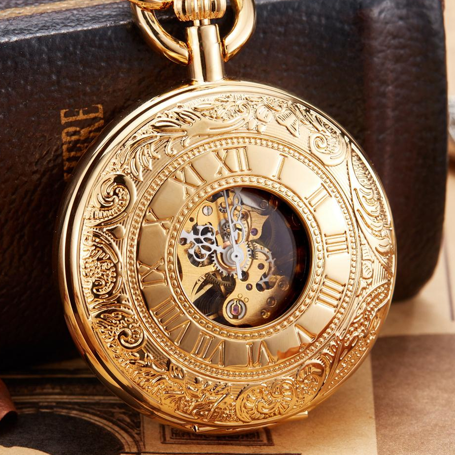 Vintage Copper Necklace Mechanical Pocket Watch Top Brand Luxury Silver Mechanical FOB Chain Necklace Male Clock Women Gift