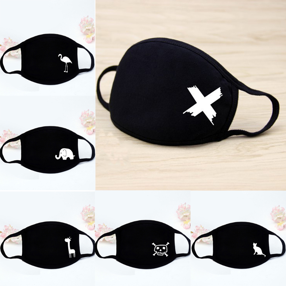 Quality Black Unisex For Female Male Face Mask Cotton Anime Mouth Mask Anti-dust Pollution Masks Cute Masker For Woman Man