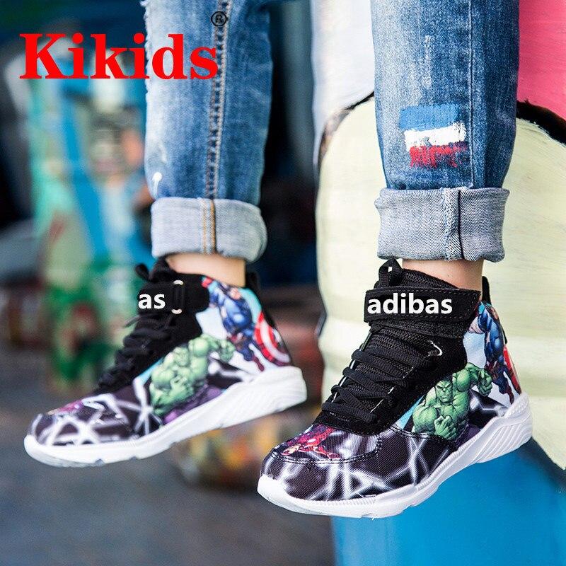 2020 детская повседневная обувь для мальчиков, Баскетбольная обувь для бега, Детские повседневные спортивные кроссовки с рисунком Мстителей, детская обувь