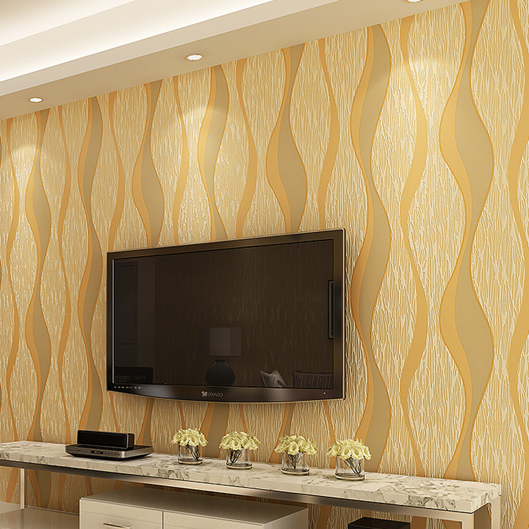 Modern Minimalist Nonwoven Fabric 3D Abstract Wave Pattern Stripes Wallpaper Hotel Bedroom Decoration Aisle Living Room Wallpape