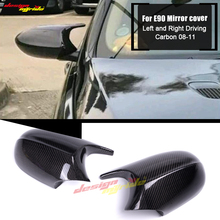 For BMW 3-Series E90 LCI 4Door Sedan Side Mirror Cover Caps Add on Style Carbon Fiber 1:1 Replacement M3 Look 08-11