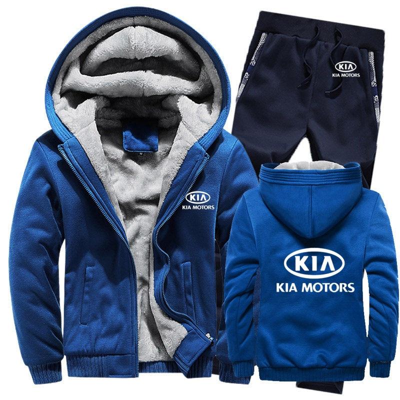 Hoodies Men KIA Car Logo Mens Hoodies Suit Winter Thicken Warm Fleece Cotton Zipper Tracksuit Mens Jacket+Pants 2Pcs Sets