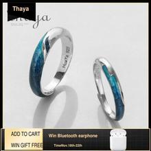 Thaya輝く川エメラルドリングs925シルバー円形ソフトブルーロマンチックなジュエリーリング女性のためのエレガントなシンプルなギフト