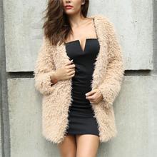 OEAK Ladies Solid Shaggy Coat Women Winter Faux Fur Outwear Coat And Jackets Fashion Collarless Fluffy Teddy Jacket Overcoat