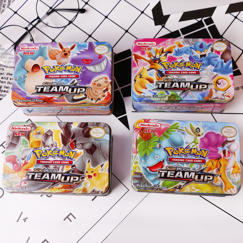42PCS/BOX SUN&MOON TEAM UP GX MEGA Pokemon Shining Cards Game Battle Carte Trading Cards Game Children Pokemons Toy image