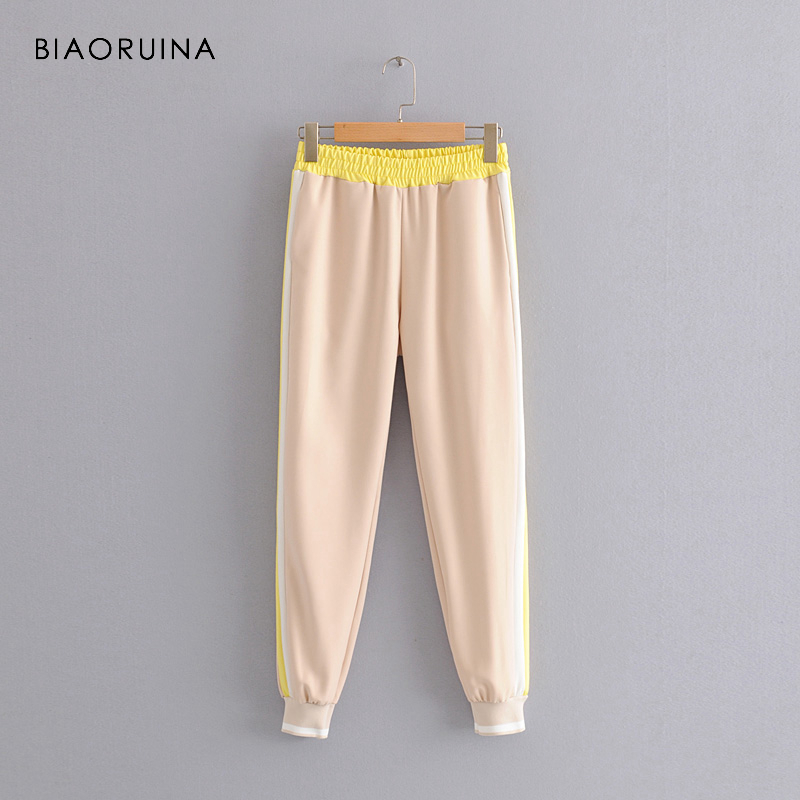 BIAORUINA Women Casual Side Striped Ankle-Length Pant Female Fashion All-match Pant Active Wear Girls Mid Waist Harem Trousers