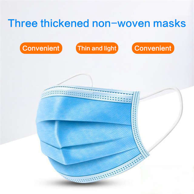 Mask Disposable Nonwove 3 Layer Ply Filter Mask Mouth Face Mask Filter Safe Breathable Protective Masks 48 Hours Shipping 2
