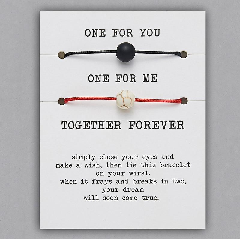2 шт./компл. Сердце Звезда браслеты с крестообразной подвеской один для вас один для меня красная веревка плетение пара браслет для мужчин женщин карточка пожеланий - Окраска металла: BR18Y0709-1