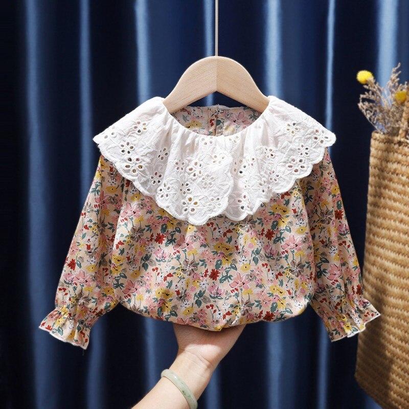 2021 Autumn Cotton Baby Toddler Teen Princess School Girls Flower Printed Blouse Long Sleeve shirt