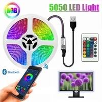 Tira de luces Led RGB 5050 con Cable USB, cinta de iluminación resistente al agua DC5V con Bluetooth IR, mando a distancia, decoración de dormitorio, retroiluminación