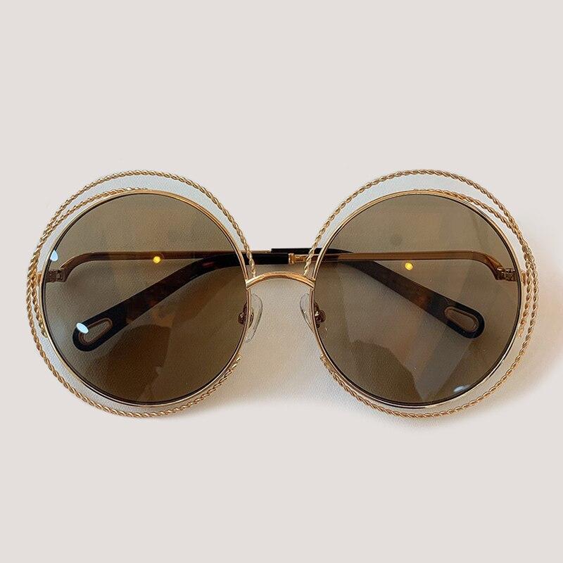 Vintage rond grande taille lentille miroir lunettes de soleil femmes marque concepteur cadre en métal surdimensionné lunettes de soleil