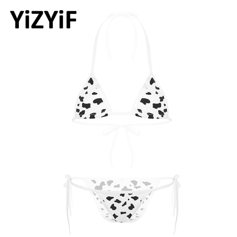 Women Lingerie Bikini Set Kawaii Style Milk Cow Dotted Or Striped Mini Bikini Sets Underwear Halter Neck Bra Top With Briefs