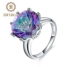 GEMS BALLETT Klassische Natürliche Regenbogen Mystic Quarz Ring 925 Sterling Silber Für Frauen Hochzeit Engagement Ringe Edlen Schmuck