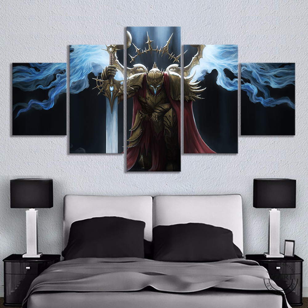 HD Fantasy Art Wall Picture Fantasy Warrior Sword Wings Knight Templar Poster Artwork Canvas Painting Wall Art Home Decor 1