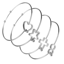 2pcs/lot Star love cross wireless symbol Bracelet & Bangle 100% Stainless Steel Cuff Bracelets Women DIY Jewelry Cable