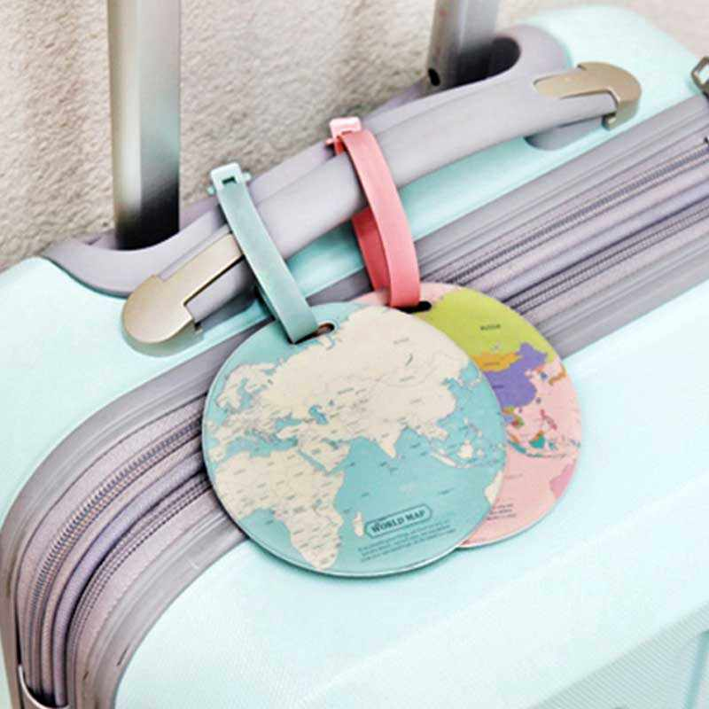 4 farben Welt Karte Gepäck Reise Zubehör Tag PU Koffer ID Addres Halter Gepäck Internat Tag Tragbare Label