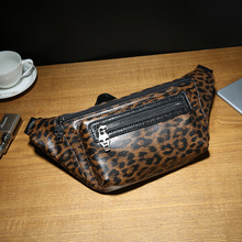 купить Brand Men's Shoulder Bag Vintage Men Crossbody Bag Men Leopard Chest Bags Casual Fashion PU Leather Men Messenger Bag онлайн