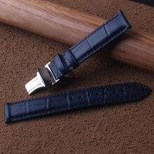 15mm 16mm 17mm 18mm 19mm 20mm 21mm 22mm 23mm ใหม่คุณภาพสูงของแท้หนังสีฟ้านาฬิกา Croco GRAIN สายรัดพับ clasp