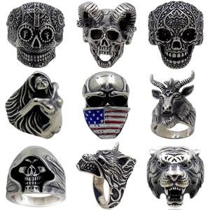 Gothic Punk Ring For Men Retro
