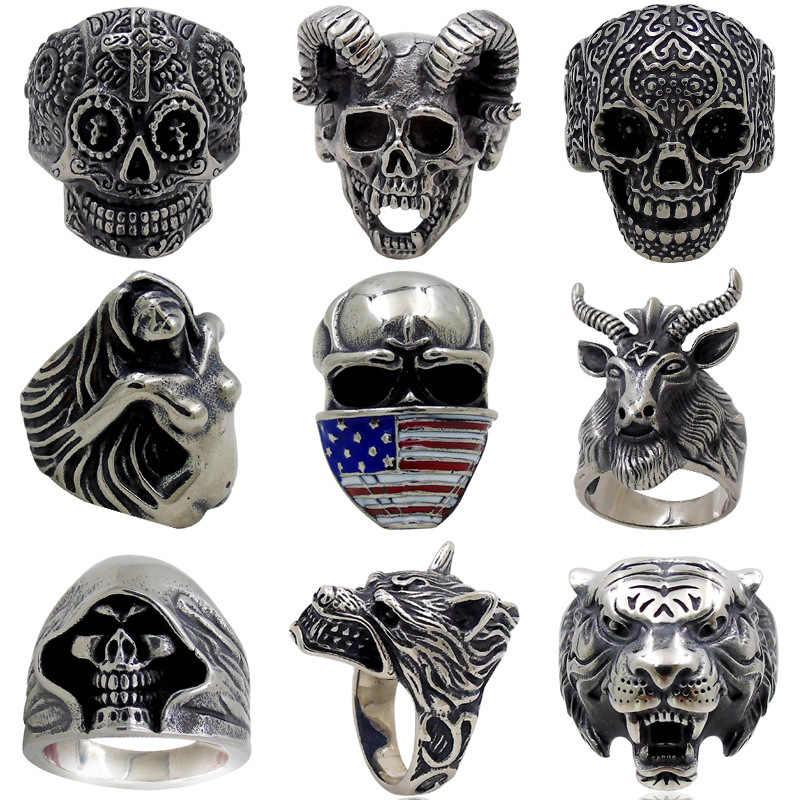 Gotik Punk yüzük erkekler için Retro iskelet şeytan erkek yüzük paslanmaz çelik kafatası ayarlanabilir ayarlanabilir abartı