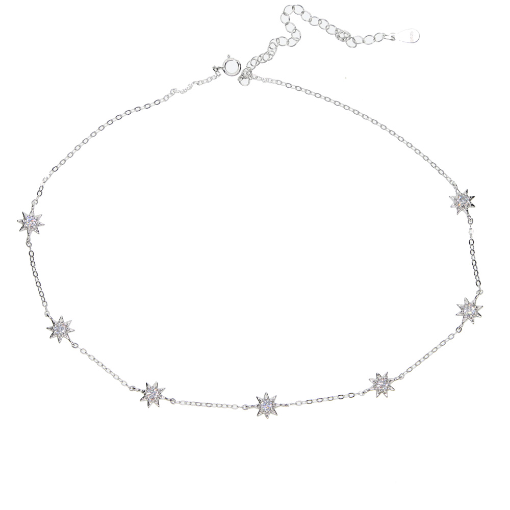 guarenteed 925 sterling silver mini star charm dainty delicate choker short necklace for women multi layer necklace wholesale