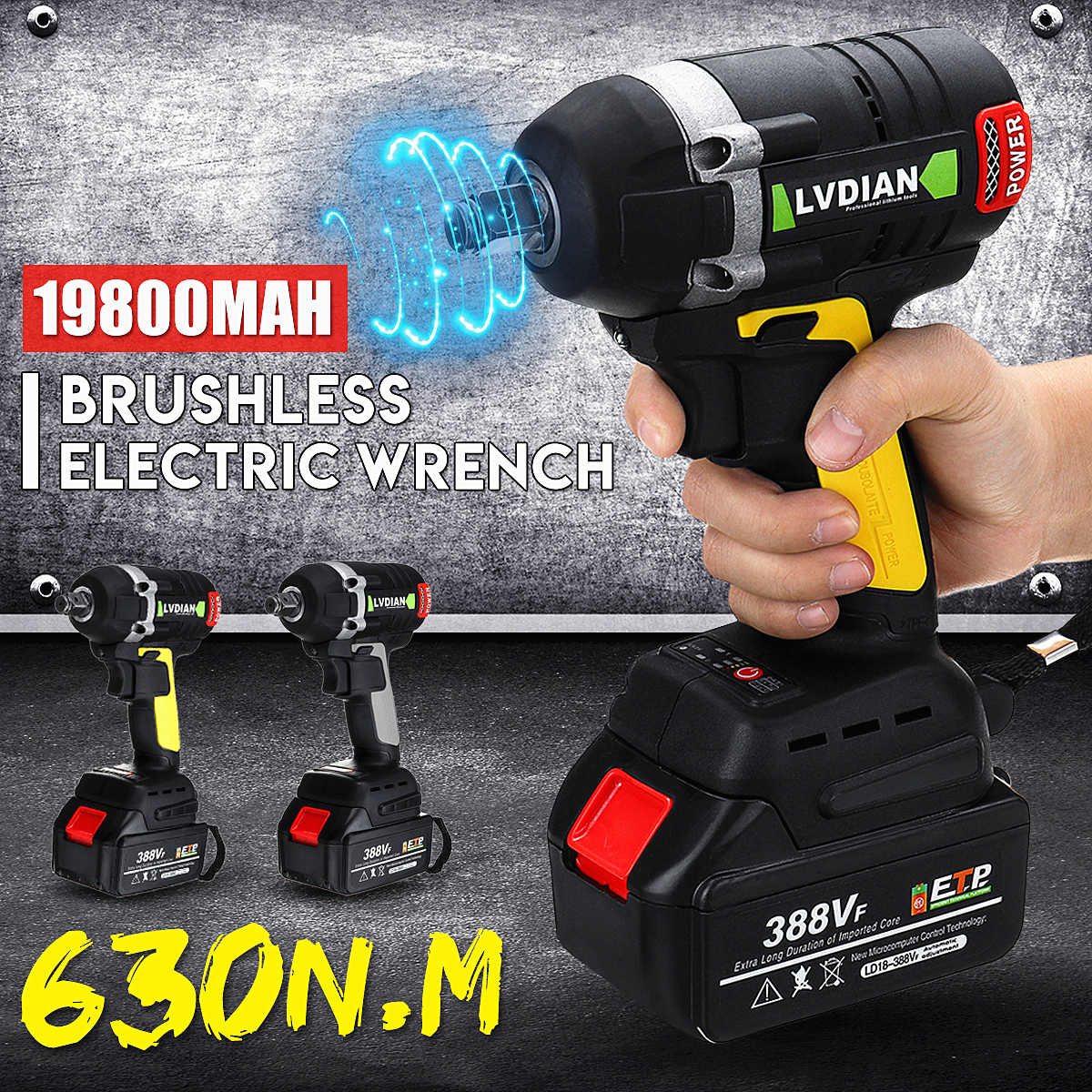 388VF 630N.m Cordless Electric Brushless Wrench Rechargeable 19800mAh Li Battery Torque Guns LED light Socket Wrench Power Tools