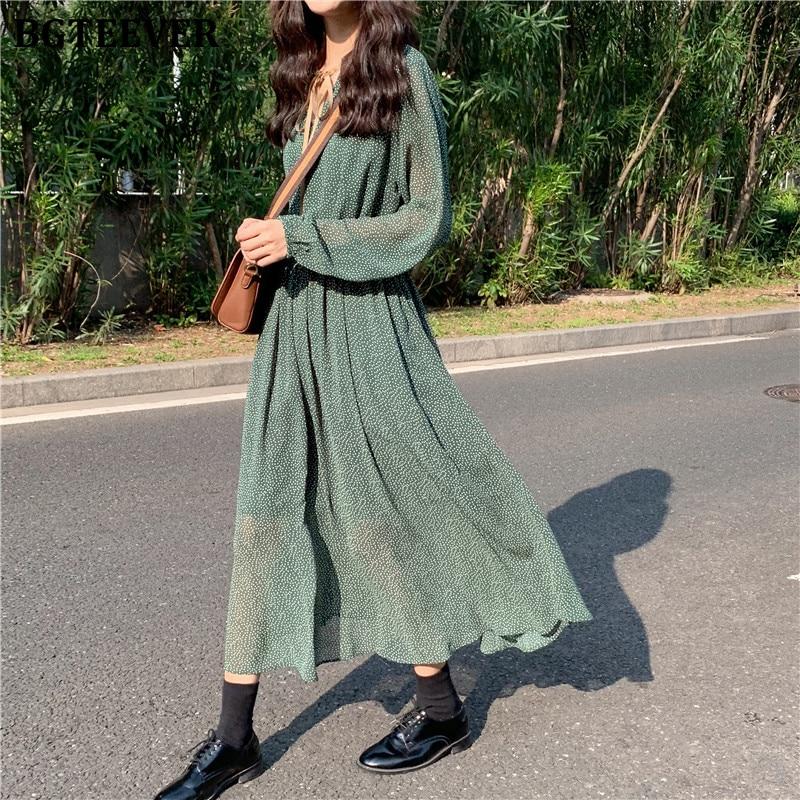 BGTEEVER Vintage Lace Up Polka Dot Women Dress Spring Elastic Waist Female Long Dress 2020 Spring Summer A-line Vestidos femme