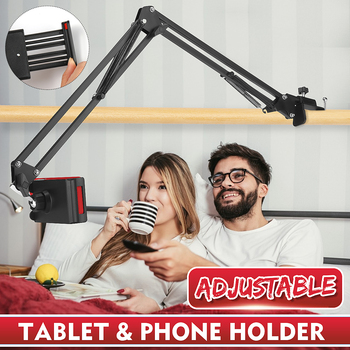 360 Rotating Flexible Long Arms Mobile Phone Holder For iPhone Desktop Bed Lazy Bracket Phone Stand Metal Clamp Support
