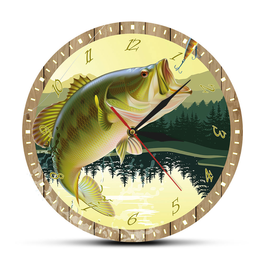 It's Fish O'Clock Fisherman Man Cave Bass Lure Full Color Print Fishing Wall Clock Modern Kitchen Watch Angling Fisherman Gift