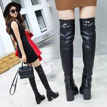 Europe and America style Women Platform High Boots Thick Heeled Thigh Boot Female Slim Winter Shoes Round Toe Black(China)