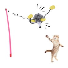 Cat Catcher Cat Toy Feather Wand Rod Dangler Shaping Hedgehog Stick Interactive Squeaky Toys 1(China)