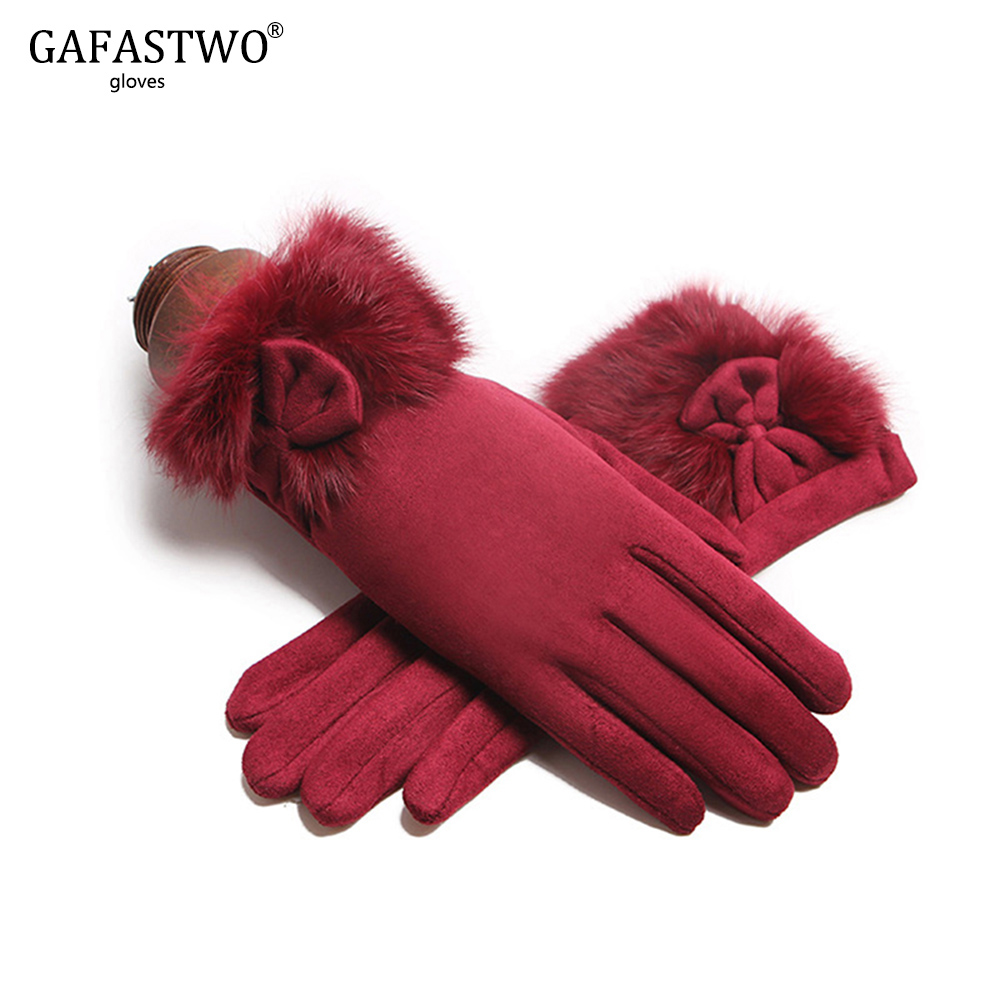 Winter Warm Velvet Women Touch Screen Gloves Fashion Rabbit Fur Comfortable Suede Soft Gloves Points Finger Lady Gloves