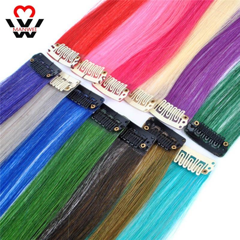 MANWEI длинные прямые цветные синтетические волосы наращивание волос на зажиме высокотемпературные радужные волосы разворачивающиеся розов...