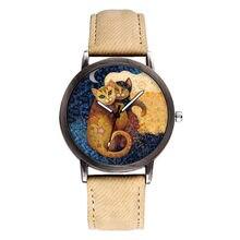 2020 yeni lüks kadın izle moda bayan yaratıcı güzel kedi saatler basit Retro Denim kayış kuvars saat hediye Reloj mujer
