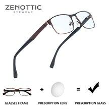 ZENOTTIC Optical Prescription Glasses Men Women Myopia Photochromic Eyeglasses Metal Square Frame Anti Blue Ray Lenses BT2103