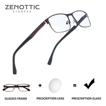 ZENOTTIC ออพติคอลแว่นตาผู้ชายผู้หญิงสายตาสั้น Photochromic แว่นตากรอบโลหะสแควร์ Anti Blue Ray เลนส์ BT2103