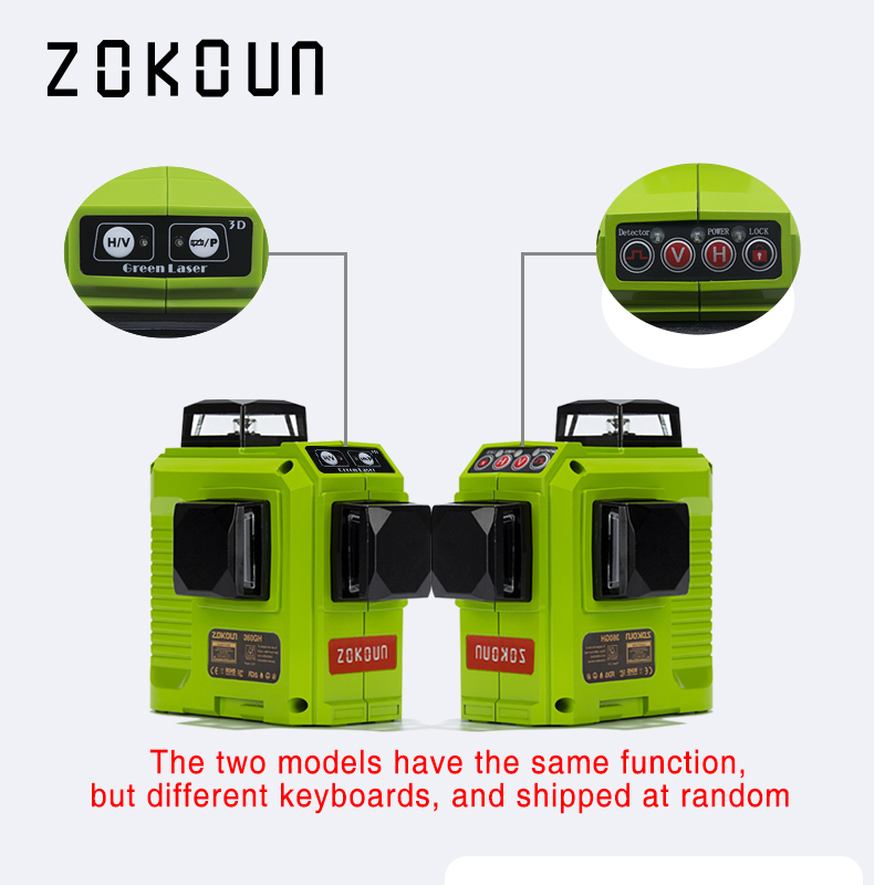ZOKOUN 12 Lines 3D Self Leveling Green Laser Level 360 Degree Horizontal And Vertical Cross 5