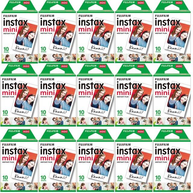 10 200แผ่นFujifilm Instax Mini 11 9 8สีขาวขอบกว้าง3นิ้วสำหรับกล้องmini 8 7S 25 50S 90กระดาษ