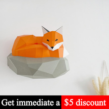 Paper-Model Papercraft Wall-Decor Animal Low-Poly DIY 3D Adult Toy Home Fox Handmade