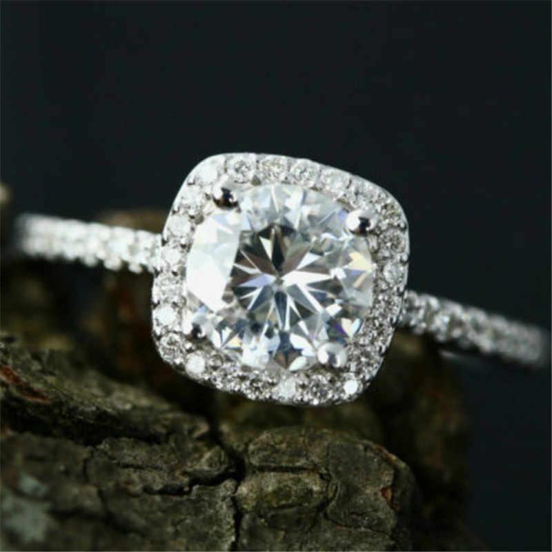 Abadi 925 Sterling Silver Cincin Jari Perhiasan Inlay 2 Carat Diamond Cincin Pernikahan untuk Wanita