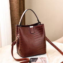 Fashion Luxury Crocodile Crossbody Bag For Women Shoulder Bag Designer Bags Luxury PU Leather Bucket Handbag Messenger Bolsa