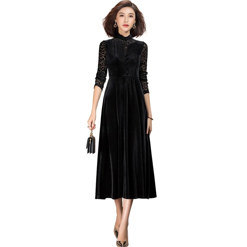 2021 primavera casual manga comprida renda retalhos veludo preto vestido feminino