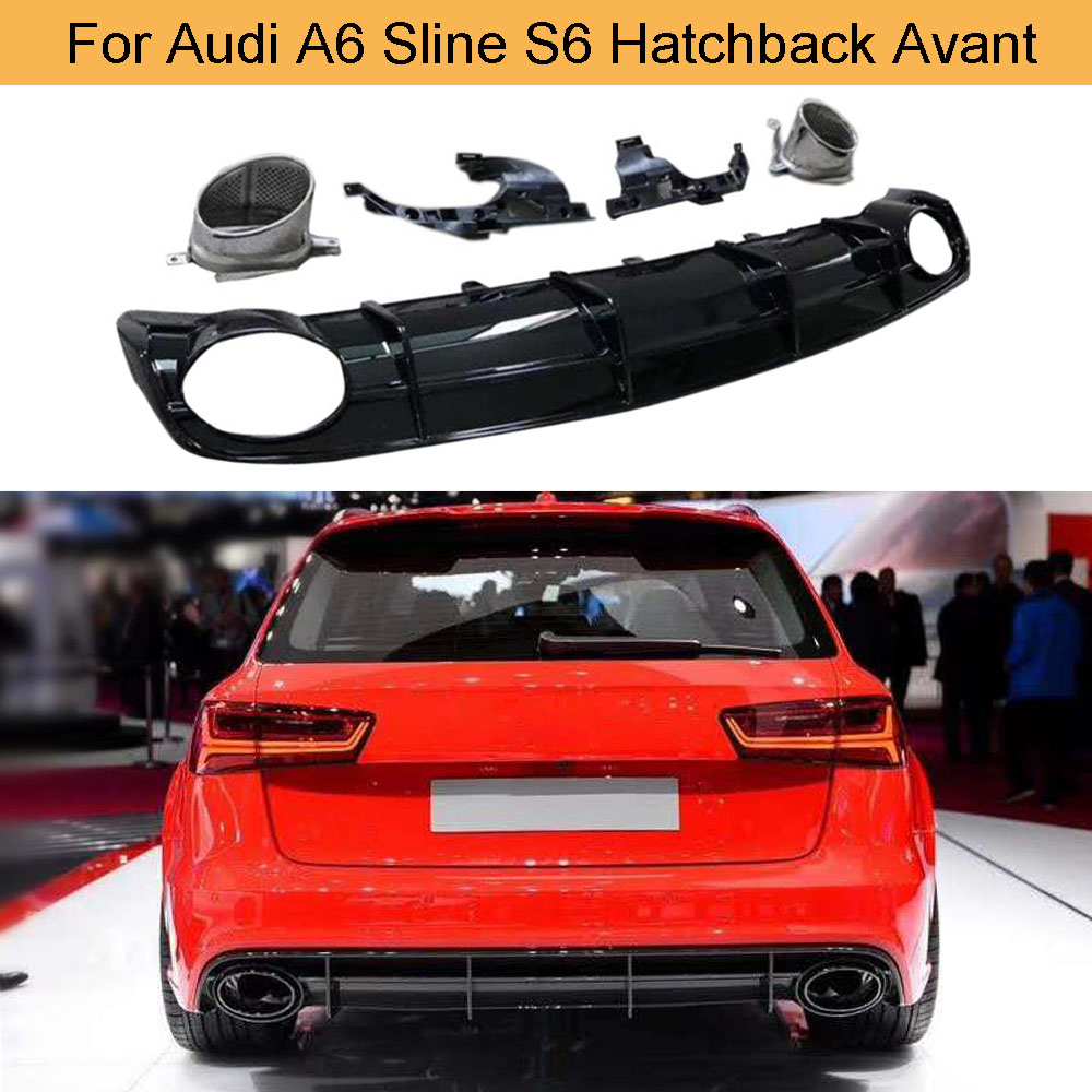 PP Car Rear Bumper Diffuser Lip Spoiler for Audi A6 Sline S6 Hatchback Avant Touring 2015 -2018 Not for RS6 Rear Bumper Diffuser image