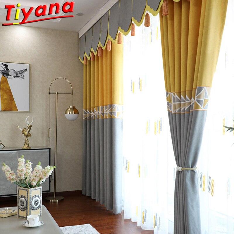 rideau occultant nordique a rayures solides et points modernes en tissu jaune et gris pour salon pour chambre a coucher 35