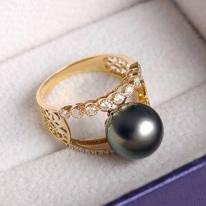 Image 3 - [YS] bague de fiançailles en or 18k, perle de tahiti, naturelle, noire, cultivée, 10 à 11mm