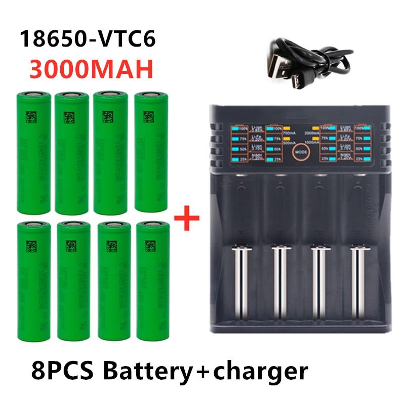 18650 зарядное устройство 1,2 в 3,2 в 3,7 в 26650 16340 умное зарядное устройство USB + VTC6 3000 мА/ч 18650 для аккумулятора электронной сигареты Sony